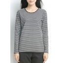 Striped Round Neck Long Sleeve Tee with Elbow Patch