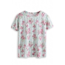 Striped Floral Print Short Sleeve Tee