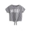 Plaid Letter Print Knotted Hem T-Shirt