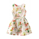 Apricot Background Couple Print Fit&Flare Sleeveless Dress