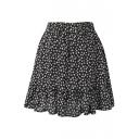 Black Background All Over White Flora Elastic Waist Short Skirt