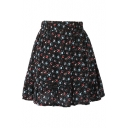 Black Background All Over Cute Flora Elastic Waist Short Skirt