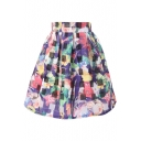 Black&White Checker Multi Flower Print Organza Pleated Skirt