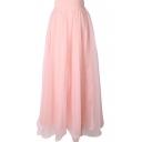 Pink Mesh Maxi Skirt
