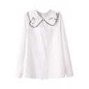 White Long Sleeve Kitten Embroidered Lapel Blouse