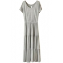 Gray Short Sleeve Casual Slim Longline Dress