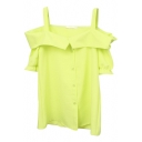 Yellow Off-the-Shoulder Short Sleeve Slip Shirt