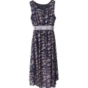 Camouflage Print Round Neck Sleeveless Fitted Dress