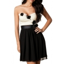 Sweetheart Neck 3D Flower Color Block A-line Dress