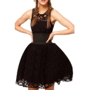 Gorgeous Style Wide Belt Embellished Black Lace A-line Dress