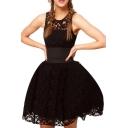 Gorgeous Style Wide Belt Embellished Black Lace A-line Dress
