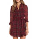 Red Plaid Print Chiffon Single Breast Fitted Belted Dress