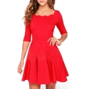 Lady Style Curve Scoop Neck Slim A-line Dress with 1/2 Sleeve
