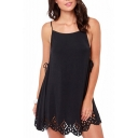Laser Carving Cutout Hem Side Drawstring Slip Black Dress