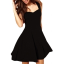 Black Ruffle Hem Fitted Sleeveless Fit&Flare Dress
