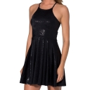 Black Geometric Pattern Shining Gilding Slip A-line Dress