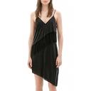 Black Strap Plain Tassel Detail Asymmetric Hem Dress