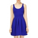 Plain Modern Concise Style Pleated Tanks Dress