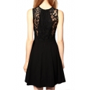 Lace Cutwork&Chiffon Panel Style Black A-line Sleeveless Midi Dress