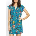 Green Print V-Neck Short Sleeve Belted Dress