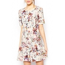 Fresh Print Round Neck Short Sleeve Dress