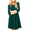 Plain 3/4 Sleeve Gathered Waist Babydoll Dress