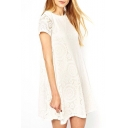 White Short Sleeve Kaleidoscopic Lace Cutwork Swing Dress