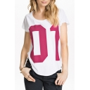 White Short Sleeve Fuchsia Letter Pint T-Shirt
