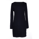 Navy Long Sleeve Round Neck Fitted Dress