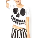 White Short Sleeve Skull Print Crop T-Shirt