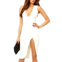 White V-Neck Sleeveless Split Midi Dress