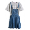 Dark Blue Fitted Denim Short Overall Dress