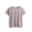 Gray Striped Floral Print Short Sleeve Tee