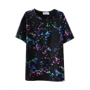 Black Short Sleeve Ink Color Graffiti T-Shirt