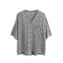 Black Striped V-Neck Pocket Front Tee