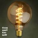 60W 220V 125*175mm E27 Spiral G125 LOFT  Edison Bulb