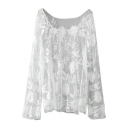 White Lace Flower Embroidered Sheer Blouse