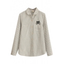 Vertical Gray Thin Stripe Kitty Embroidered Single Pocket Shirt