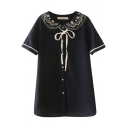 Dark Blue Short Sleeve Flora Embroidered Layered Lapel Bow Neck Ruched Shirt