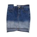 Dark Blue Ombre High-Low Hem Denim Bodycon Skirt