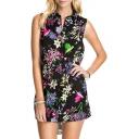 Rural Flower Print Button Fly Black Background High-low Hem Dress