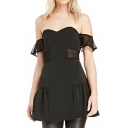Black Plain Boat Neck Sheer Net Insert Waist Mini Dress