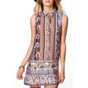 Button Fly Shirt Style Geo-Tribal Pattern Print Column Dress