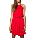 Red Halter Sleeveless Pleated Dress