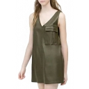 Hunter Green V-Neck Pocket PU Tanks Dress