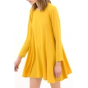 Yellow Long Sleeve Round Neck Smock Dress