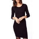 Black Cutout Back Long Sleeve Fitted Dress