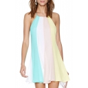 Color Block Halter Sleeveless A-Line Dress