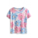 Blue Blooming Floral Print Short  Sleeve Tee