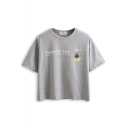 Gray Cat Letter Print Short Sleeve T-Shirt